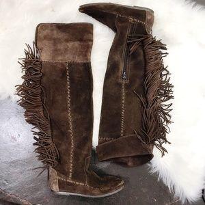 Minnetonka 1698 Over Knee Tall Fringe Flat Boots 7